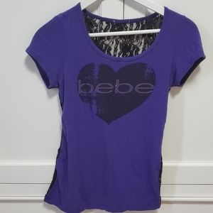 Bebe Purple Lace Back T-shirt
